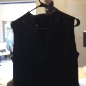 Sleeveless black beaded top dress